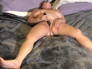 Busty MILF Loves being watched while Masturbating Big Black Dildo