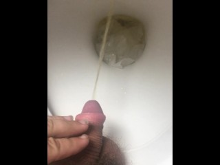 Just a morning piss with a floppy cock