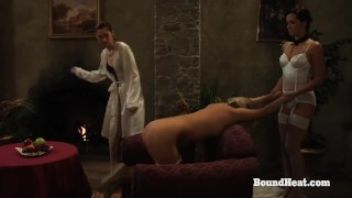 Disappeared On Arrival:Caught Lesbian Slave Bent Over Sofa And Whipped Hard