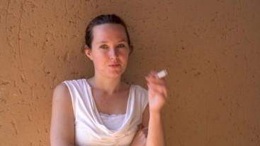 Lady Enjoying a Cigarette