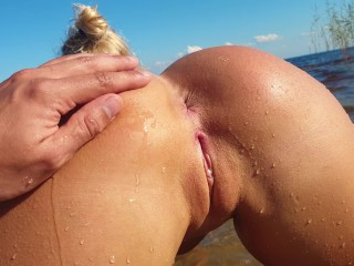 Petite blonde with perfect pussy fucks on a...