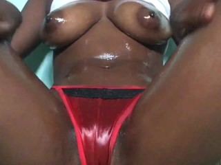 Ebony hottie; red thong  tease, hairbrush fuck and squirt