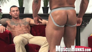 Big Bodybuilders wrestle, muscle worship and jack off together
