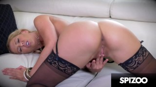 Hot MILF Cherie DeVille in a Black Lingerie Fingering her Wet Pussy