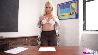 Naughty Teacher has Student Wank For Her While She Strips Off On The Desk