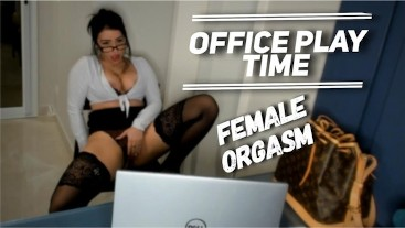 Sexy Secretary Masturbates at office Female Orgasm - Office Play Time