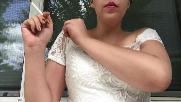 Hot Sexy Teen with Big Tits Smoking Cork Tip 100 in Tight White Lace Dress