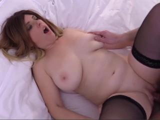 Hot blonde over her huge tits...