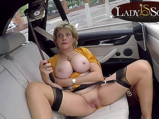 playing with her pussy in the car...