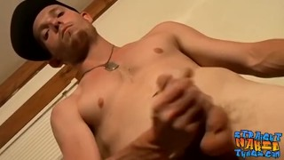 Straight amateur thug Viper strokes his big cock and cums