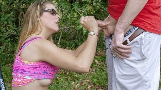Young Blonde Gets Lost In A Public Park & asked By Ranger For Handjob
