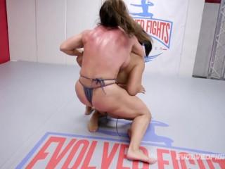 Trailer for the intense lesbian wrestling match between muscle girls