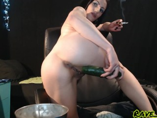 cucumber in my pussy while i smoke