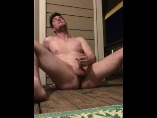 Stripped butt spurts cum his deck...