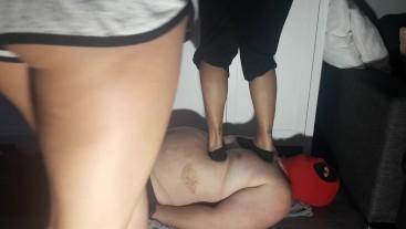 TWO HOT GIRLS TRAMPLE FUN IN SOCKS