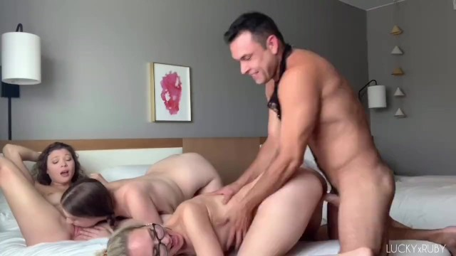 Amateur Orgy with Creampie - Reverse Gangbang - LUCKYxRUBY (SHORT)