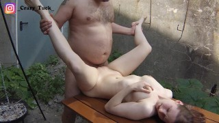 Fat old bastard uses 18 year old girl on the terrace