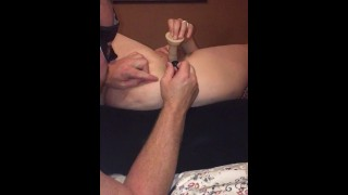 Caught my wife masterbating, so I join in to assist bringing her to orgasm.