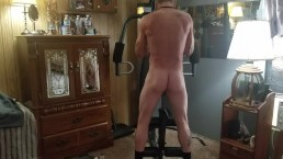 hot tattooed guy working out completely nude