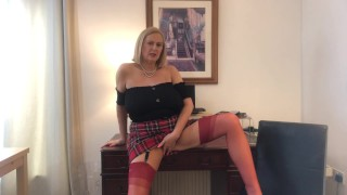 Annabel's red tartan skirt