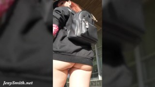 Ass flashing in public by Jeny Smith. Bubble butt hidden spy cam