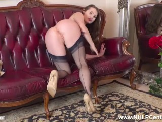 Arousal expert fit brunette Brook Logan jerks off with you in nylons heels