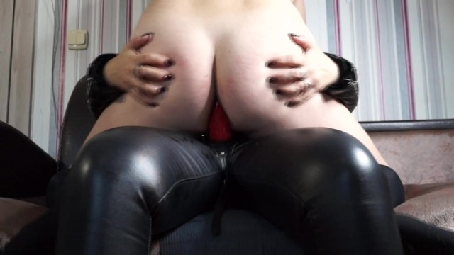 Mistress peggs her slave and let him cum on her strapon 9