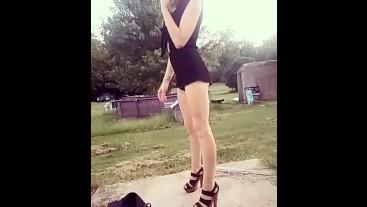 Sexy smoking @ sunrise- black romper & heels- long legs tight body- public
