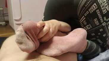 cum inside pink sock/sockjob/footjob after gym/yoga pants reverse sockjob