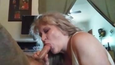 Blonde Milf sucks off her stepsons best friend ..