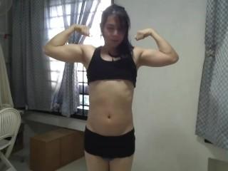 Black posing big muscles...