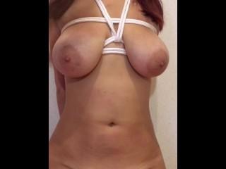 Spanking big tits.
