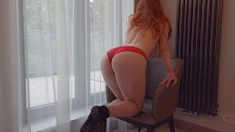 Curvy Big Boobs Pale Ginger Redhead Teen Standing Doggy Morning Creampie