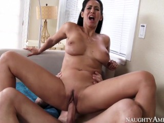 Naughty America Neighbor Isis Love fucking in the couch