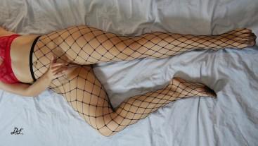 Sexy Long Legs In Fishnets - Crossed Legs Masturbation ~DirtyFamily~