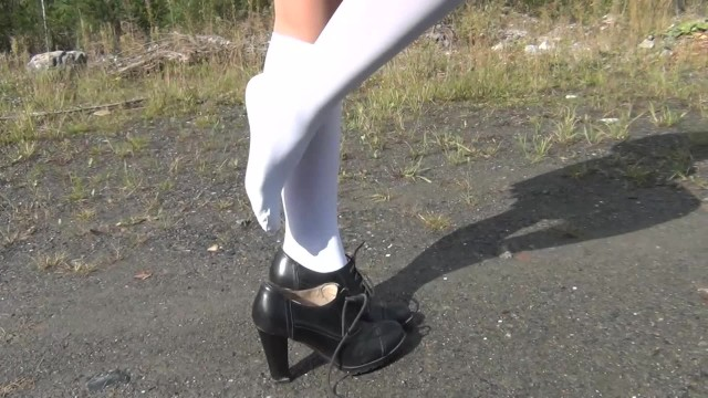 White dots under the of penis Schoolgirl show under the skirt and feet white knee socks fetish