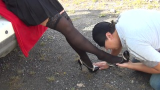 Slave lick black shoes and sniff feet and shoes kiss feet pantyhose femdome