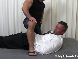 Bound muscular dude endures tickling torment by...
