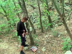 Hidden cam caught masturbation at a cruising area with condoms on a tree