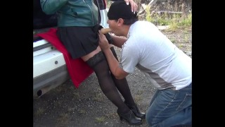 Slave blowjob misstress in black stockings femdome