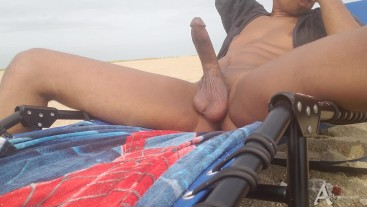 Public beach cumshots | huge cock cums massive in public