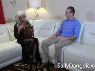 Dorky geek gets whacked off by hot milf...