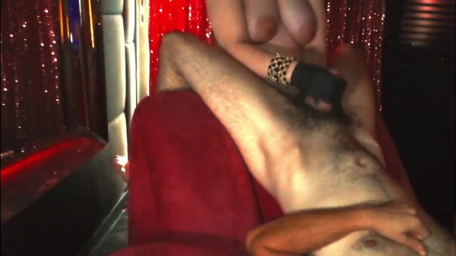 8 Months Pregnant Hotwife Gives a Black Latex Gloved Handjob 6