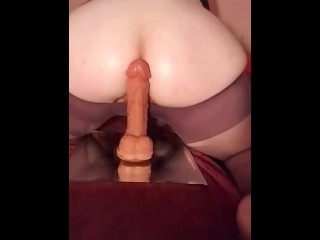 Pantyhose ripped oiled up dildo reverse cowgirl...