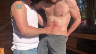 Hot sweaty blonde guy gets hard gutpunching in a shed