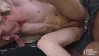 Teen Wrestler Punished And Spit-Roasted Bareback By Two Older Dudes