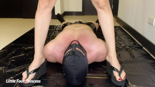 Slave Gets Pissed On And Drinks My Piss   Little Foot Princess