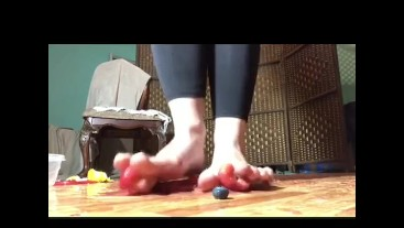 Fruit stomping in flats and barefoot