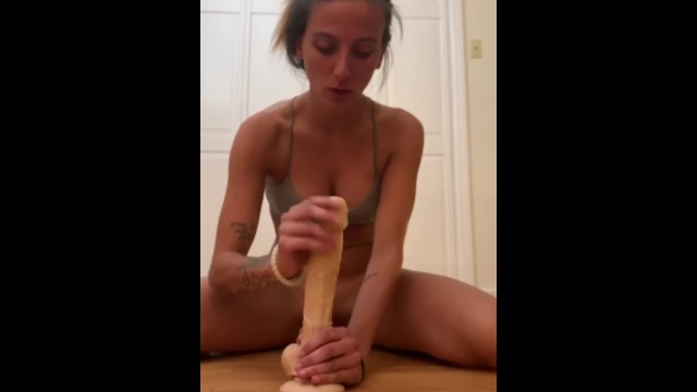 Cock and dildo in pussy Fucked doggie style with a huge dildo and cock in my pussy