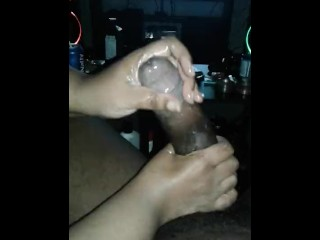 Massage therapy w/cumshot , Is mah dick too big for her hands